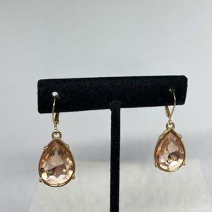 Peach dangle earrings teardrop shaped lever back